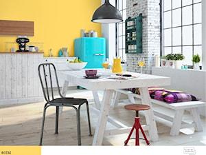Trendy 2016 - Średnia otwarta biała żółta jadalnia w kuchni - zdjęcie od Śnieżka