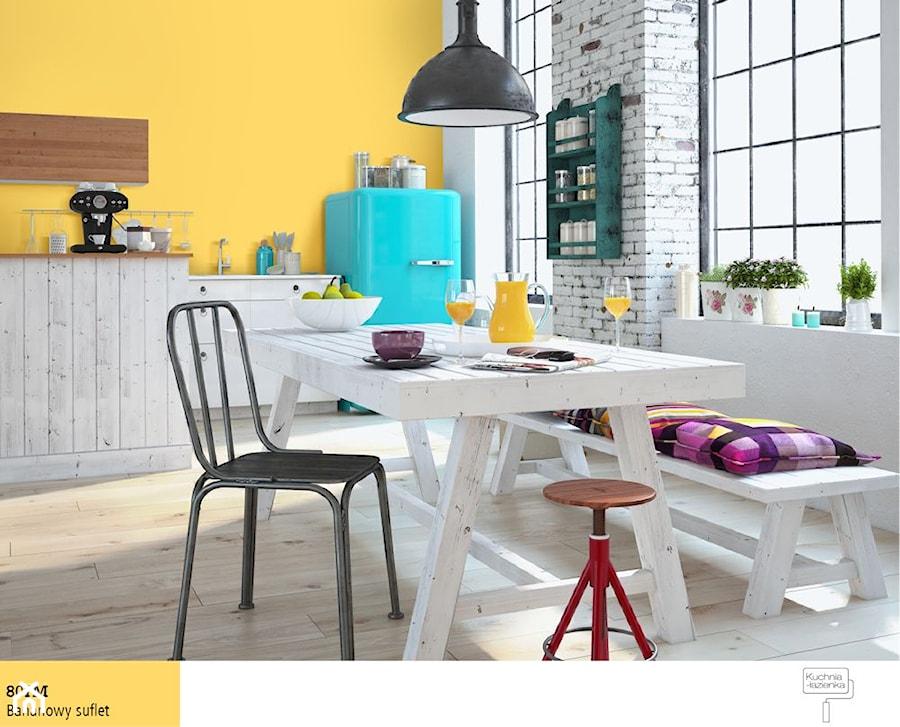 Aranżacje wnętrz - Jadalnia: Trendy 2016 - Średnia otwarta biała żółta jadalnia w kuchni - Śnieżka. Przeglądaj, dodawaj i zapisuj najlepsze zdjęcia, pomysły i inspiracje designerskie. W bazie mamy już prawie milion fotografii!