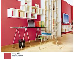 Wisienka na torcie. - Duże czerwone biuro domowe kącik do pracy w pokoju, styl nowoczesny - zdjęcie od Śnieżka