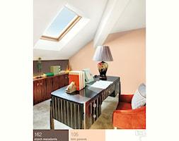 Aranżacje - Średnie pomarańczowe białe biuro domowe na poddaszu w pokoju - zdjęcie od Śnieżka