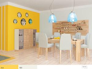 Aranżacje - Średnia otwarta szara żółta jadalnia jako osobne pomieszczenie - zdjęcie od Śnieżka