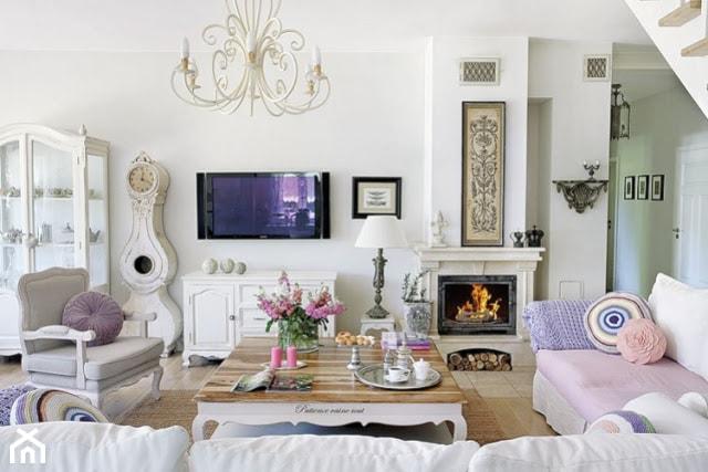 średni Biały Salon Styl Prowansalski Zdjęcie Od Judyta Homebook