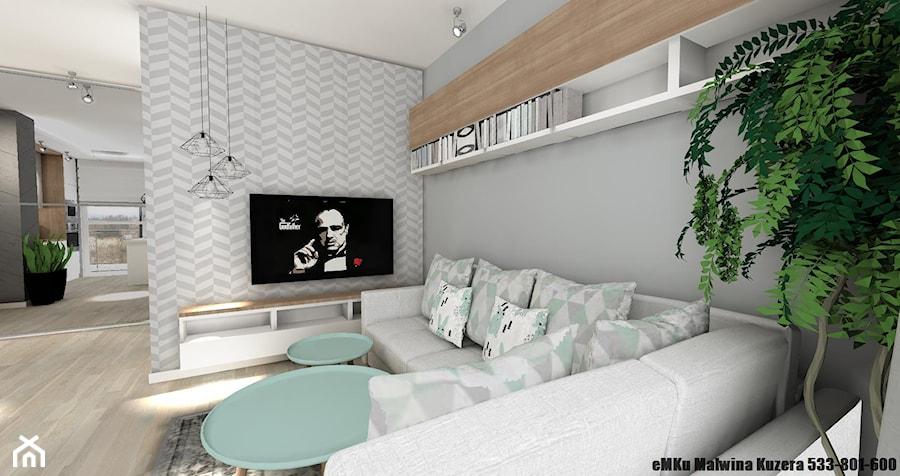 Mieszkanie Kielce III - Mały szary biały salon, styl skandynawski - zdjęcie od eMKu Sp. z o.o.