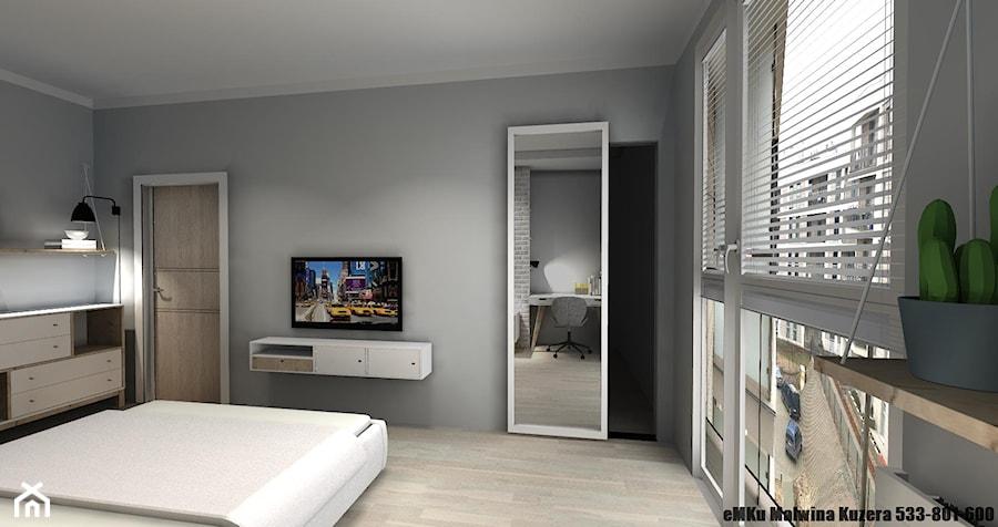 Mieszkanie Kielce III - Średnia szara sypialnia małżeńska, styl skandynawski - zdjęcie od eMKu Sp. z o.o.