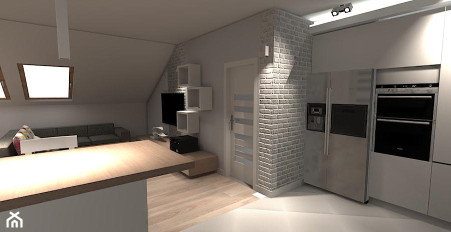 SALON NA PODDASZU  Kuchnia, styl nowoczesny  zdjęcie od eMKu Sp z o o