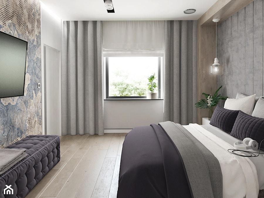 Projekt domu jendorodzinnego 120m2 - Średnia szara sypialnia małżeńska, styl minimalistyczny - zdjęcie od Fi Design