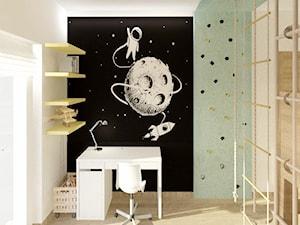 Pokój dla chłopców - Mały biały zielony czarny pokój dziecka dla chłopca dla ucznia dla malucha dla nastolatka, styl minimalistyczny - zdjęcie od Ideovo