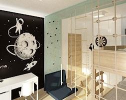Pokój dla chłopców - Średni szary czarny pokój dziecka dla chłopca dla ucznia dla nastolatka, styl skandynawski - zdjęcie od Ideovo