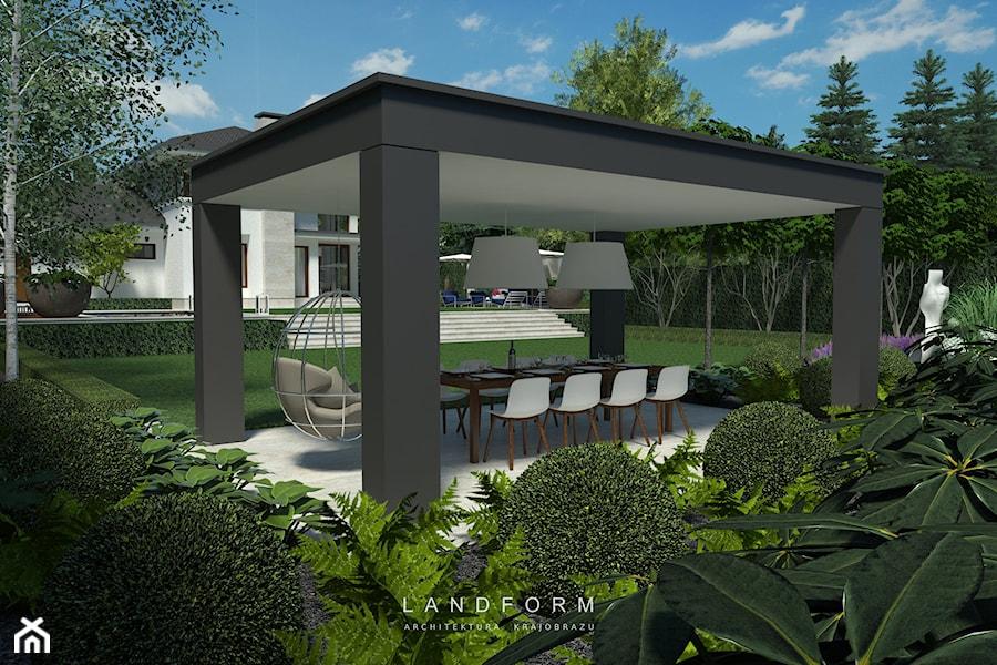 Aranżacje wnętrz - Ogród: TWO LEVELS - Duży ogród za domem z huśtawką, styl nowoczesny - Landform. Przeglądaj, dodawaj i zapisuj najlepsze zdjęcia, pomysły i inspiracje designerskie. W bazie mamy już prawie milion fotografii!