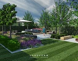 STONE & WOOD - Duży taras z tyłu domu, styl nowoczesny - zdjęcie od Landform