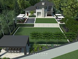 TWO LEVELS - Duży ogród za domem z altaną z basenem, styl nowoczesny - zdjęcie od Landform