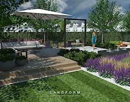 STONE & WOOD - Średni taras z tyłu domu, styl nowoczesny - zdjęcie od Landform - Homebook