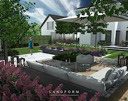 STONE & WOOD - Duży taras z tyłu domu, styl nowoczesny - zdjęcie od Landform - Homebook