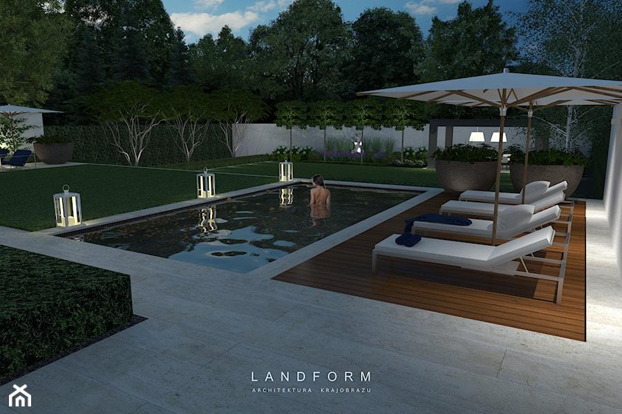 Aranżacje wnętrz - Ogród: TWO LEVELS - Duży ogród za domem z parasolem z basenem, styl nowoczesny - Landform. Przeglądaj, dodawaj i zapisuj najlepsze zdjęcia, pomysły i inspiracje designerskie. W bazie mamy już prawie milion fotografii!