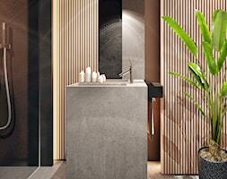 Chojnice - Mała czarna łazienka na poddaszu w bloku w domu jednorodzinnym bez okna - zdjęcie od KONZEPT Architekci