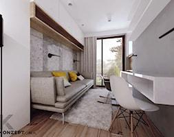 Grzegórzecka - Średnie szare białe biuro kącik do pracy w pokoju, styl minimalistyczny - zdjęcie od KONZEPT Architekci