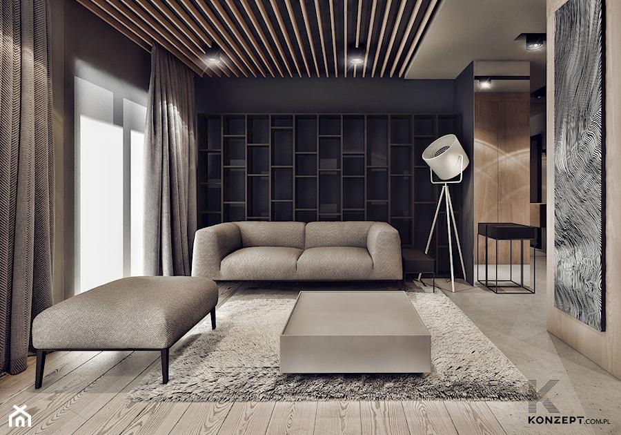 Plac Bohaterów Getta - Duży salon z bibiloteczką, styl minimalistyczny - zdjęcie od KONZEPT Architekci