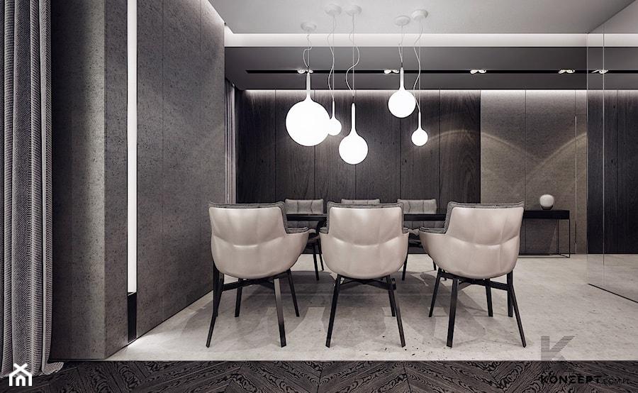 Gen. Kościuszki - Duża otwarta szara jadalnia jako osobne pomieszczenie, styl minimalistyczny - zdjęcie od KONZEPT Architekci
