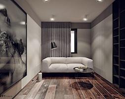 Ruczaj - Małe szare biuro domowe w pokoju, styl nowoczesny - zdjęcie od KONZEPT Architekci