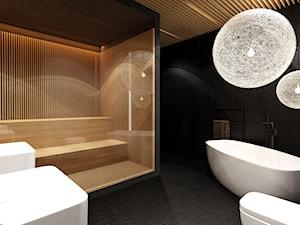 Sauna Kraków - Średnia czarna szara łazienka na poddaszu w bloku w domu jednorodzinnym bez okna - zdjęcie od KONZEPT Architekci