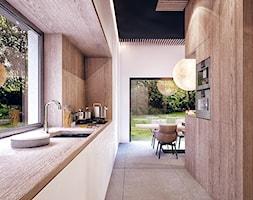 WARSZAWA II - Średnia otwarta biała kuchnia dwurzędowa z oknem, styl nowoczesny - zdjęcie od KONZEPT Architekci