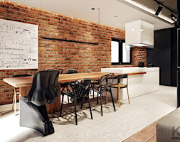 Rezydencja w Warszawie - Duża brązowa jadalnia w kuchni, styl nowoczesny - zdjęcie od KONZEPT Architekci