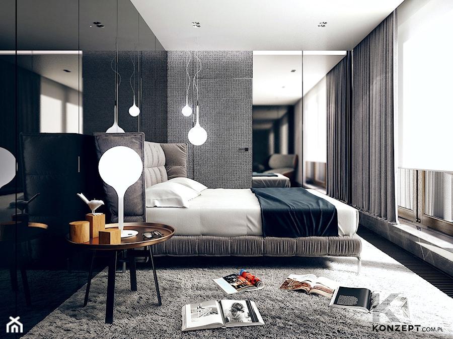 Gen. Kościuszki - Duża kolorowa sypialnia małżeńska, styl minimalistyczny - zdjęcie od KONZEPT Architekci