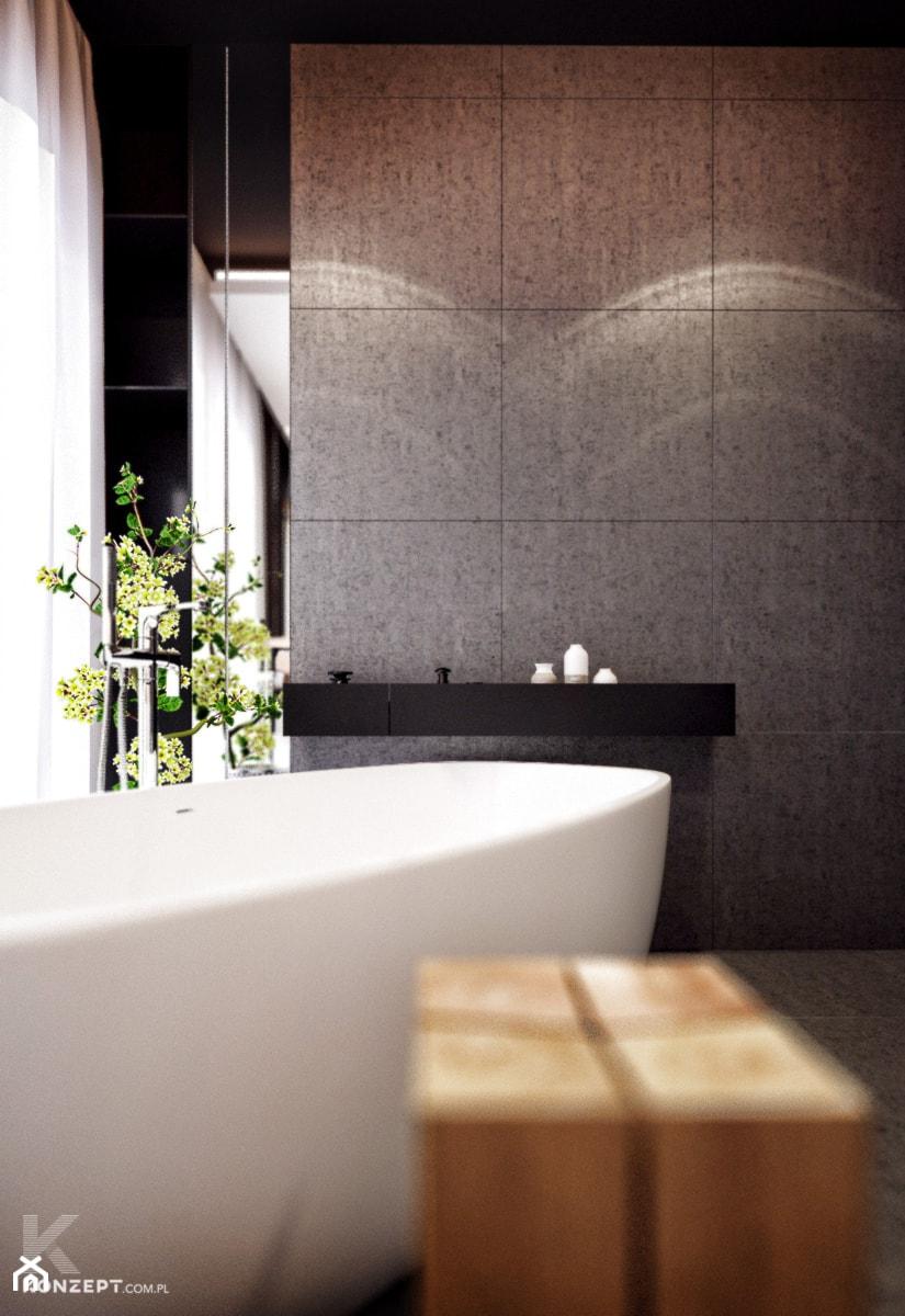 Wieliczka - Mała czarna szara łazienka na poddaszu w bloku w domu jednorodzinnym z oknem, styl nowoczesny - zdjęcie od KONZEPT Architekci