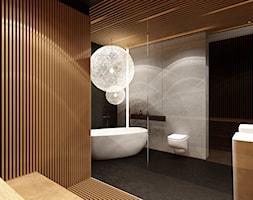 Sauna Kraków - Duża beżowa szara łazienka jako salon kąpielowy jako domowe spa bez okna - zdjęcie od KONZEPT Architekci