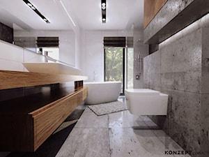 Piaskowa - Duża biała szara łazienka w domu jednorodzinnym z oknem, styl minimalistyczny - zdjęcie od KONZEPT Architekci