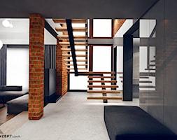 Masłomiąca - Średnie wąskie schody dwubiegowe drewniane, styl minimalistyczny - zdjęcie od KONZEPT Architekci