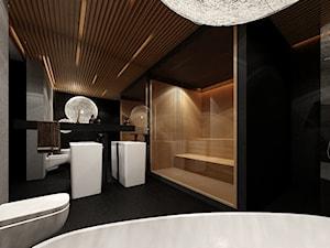 Sauna Kraków - Duża łazienka w domu jednorodzinnym jako domowe spa bez okna - zdjęcie od KONZEPT Architekci