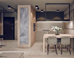 Plac Bohaterów Getta - Średnia beżowa jadalnia w kuchni, styl minimalistyczny - zdjęcie od KONZEPT Architekci