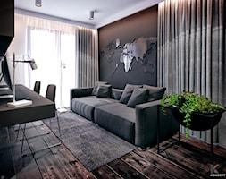 Wieliczka - Średnie czarne białe biuro domowe kącik do pracy w pokoju, styl nowoczesny - zdjęcie od KONZEPT Architekci
