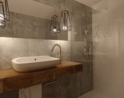 Przedwojenna Willa - Średnia biała szara łazienka bez okna, styl industrialny - zdjęcie od KONZEPT Architekci