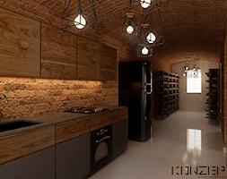 Przedwojenna Willa - Średnia zamknięta biała brązowa kuchnia jednorzędowa, styl industrialny - zdjęcie od KONZEPT Architekci