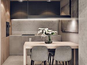 Plac Bohaterów Getta - Mała otwarta beżowa szara kuchnia jednorzędowa w aneksie, styl minimalistyczny - zdjęcie od KONZEPT Architekci