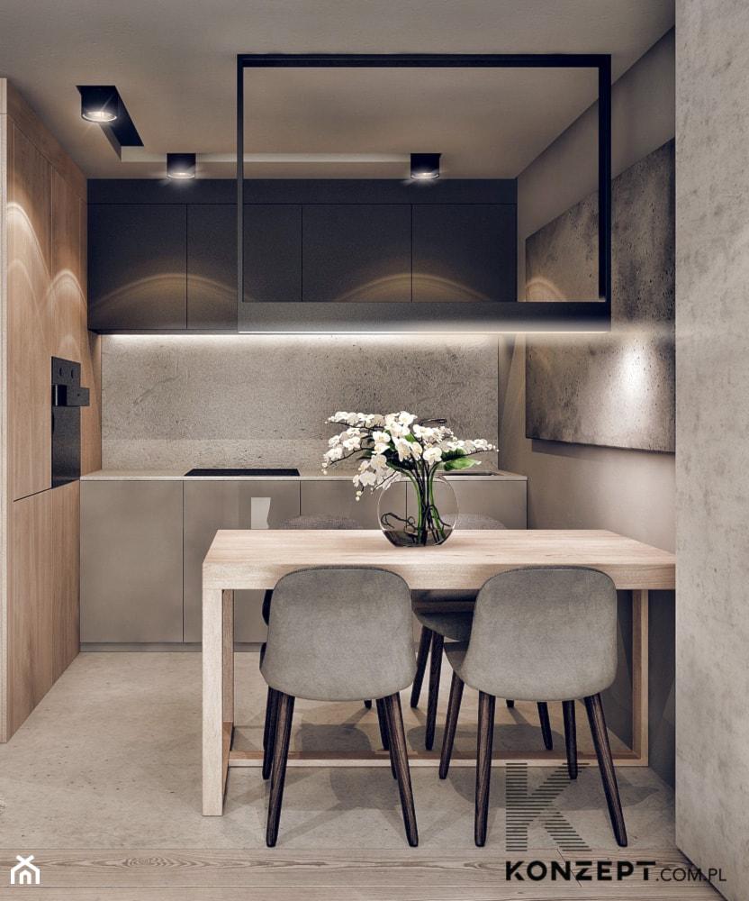 Plac Bohaterów Getta - Mała otwarta beżowa szara kuchnia jednorzędowa w aneksie, styl minimalistycz ... - zdjęcie od KONZEPT Architekci