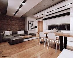 Piaskowa - Średni biały brązowy salon z jadalnią, styl minimalistyczny - zdjęcie od KONZEPT Architekci