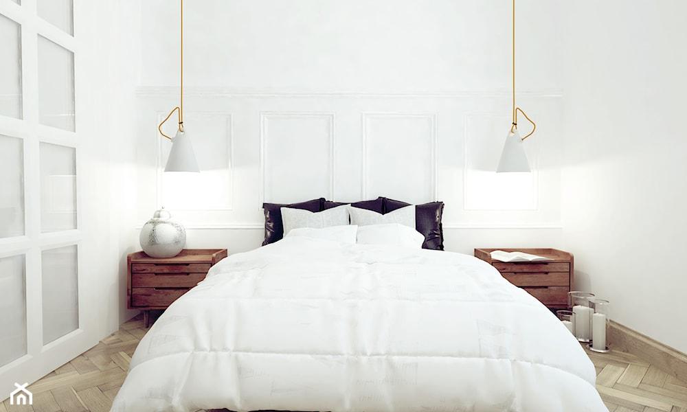 Biała sypialnia w stylu minimalistycznym