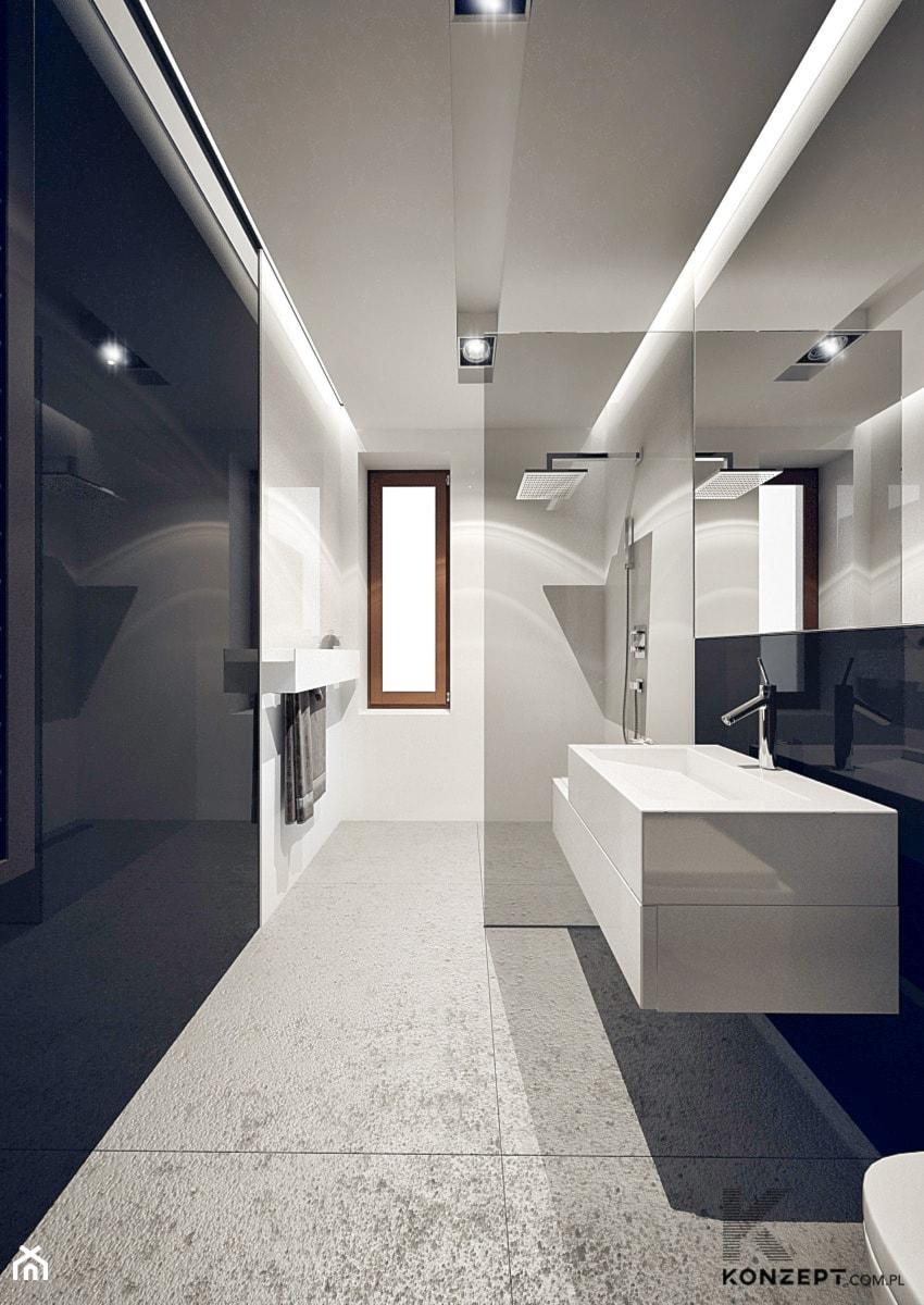 Masłomiąca - Średnia biała czarna łazienka, styl minimalistyczny - zdjęcie od KONZEPT Architekci