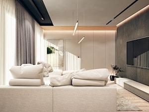 Chojnice - Średni szary biały salon - zdjęcie od KONZEPT Architekci