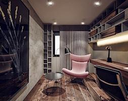 Ruczaj - Średnie szare biuro domowe kącik do pracy w pokoju, styl nowoczesny - zdjęcie od KONZEPT Architekci