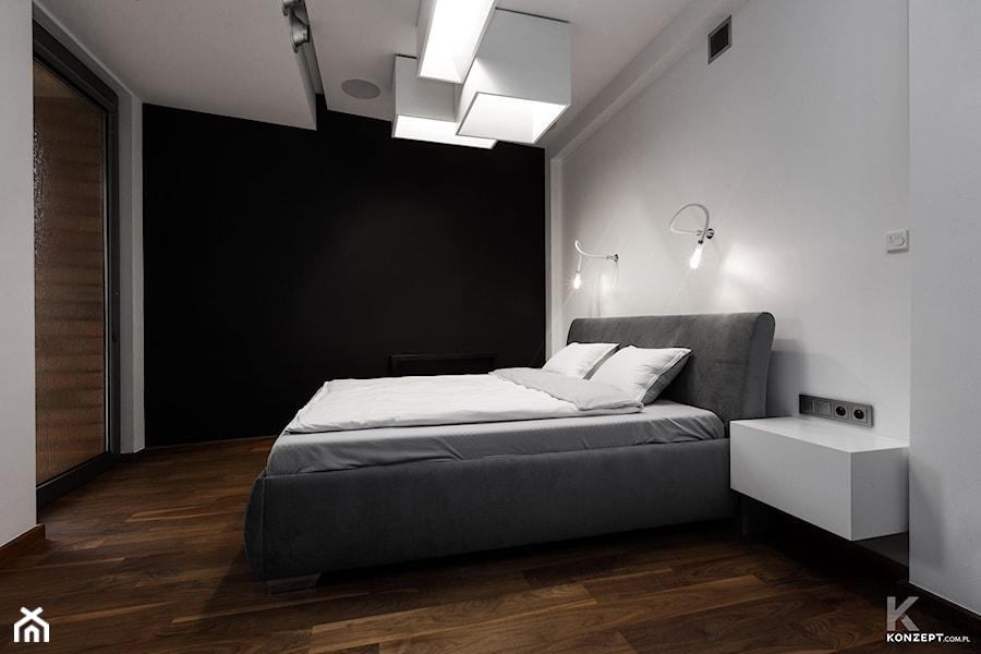 Miodowa Kraków - Średnia biała czarna sypialnia małżeńska, styl minimalistyczny - zdjęcie od KONZEPT Architekci
