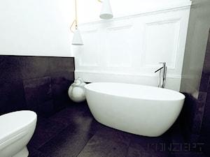 Kochanowskiego - Kraków, Stare Miasto - Duża biała czarna łazienka jako salon kąpielowy, styl vintage - zdjęcie od KONZEPT Architekci