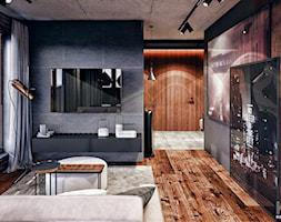 Warszawa - Średni biały czarny brązowy salon, styl nowoczesny - zdjęcie od KONZEPT Architekci