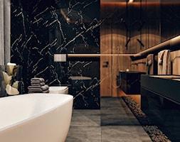 Wilanów Warszawa - Średnia czarna łazienka na poddaszu w bloku w domu jednorodzinnym bez okna - zdjęcie od KONZEPT Architekci