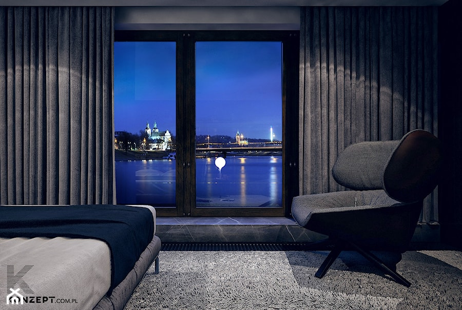 Gen. Kościuszki - Duża szara sypialnia dla gości, styl minimalistyczny - zdjęcie od KONZEPT Architekci