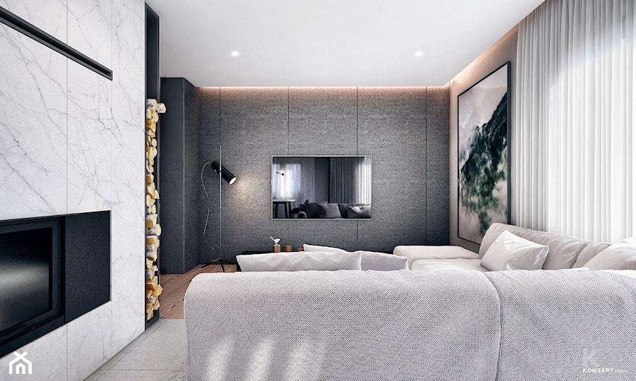 Bochnia - Średni szary biały salon - zdjęcie od KONZEPT Architekci