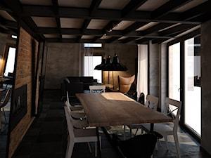 Angel Wawel - Duża otwarta brązowa szara jadalnia jako osobne pomieszczenie, styl industrialny - zdjęcie od KONZEPT Architekci